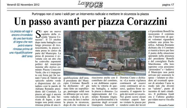 Un passo avanti per piazza Corazzini