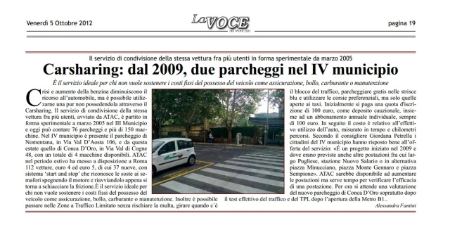 Carsharing: dal 2009, due parcheggi nel IV municipio