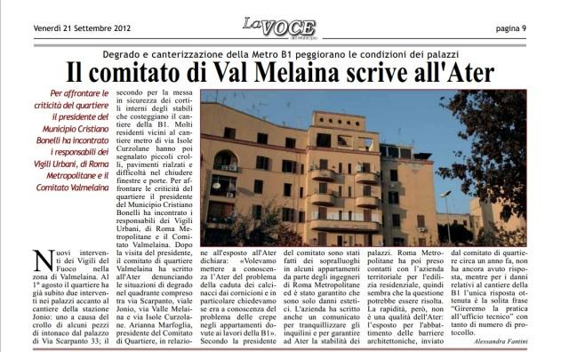 Il comitato di Val Melaina scrive all'Ater