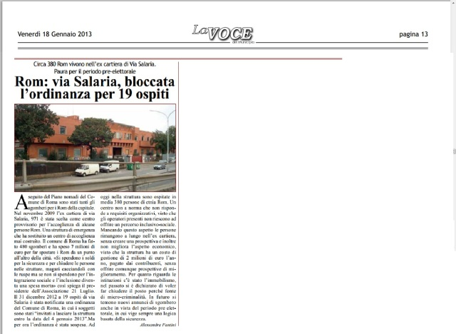 Rom: via Salaria, bloccata l'ordinanza per 19 ospiti